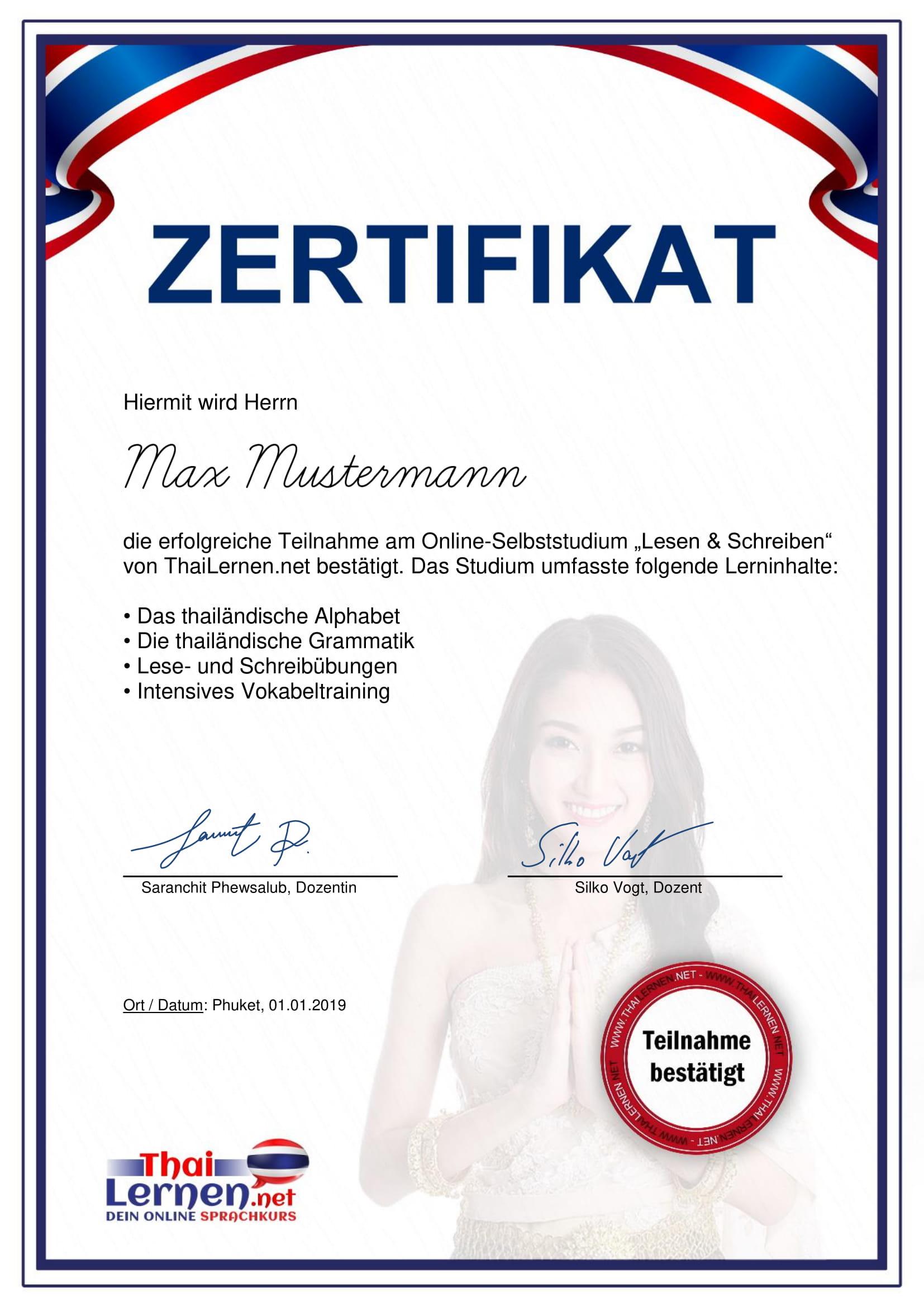 Thailändisch Zertifikat: Lesen und Schreiben